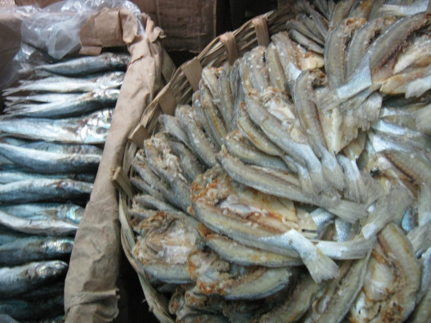 salted fish in bamboo basket